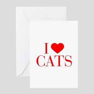 I love Cats-Bau red 500 Greeting Cards