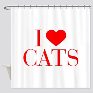 I love Cats-Bau red 500 Shower Curtain
