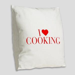 I love Cooking-Bau red 500 Burlap Throw Pillow