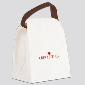 I love Crocheting-Bau red 500 Canvas Lunch Bag