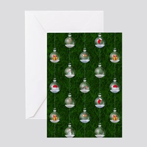 Evergreen Snowglobes Greeting Card