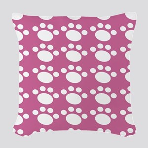 Dusty Rose Dog Paw Woven Throw Pillow