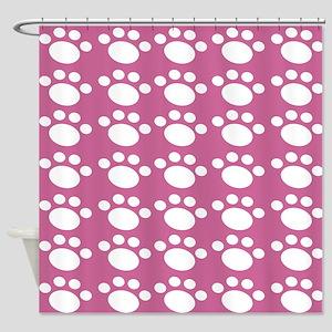 Dusty Rose Dog Paw Shower Curtain