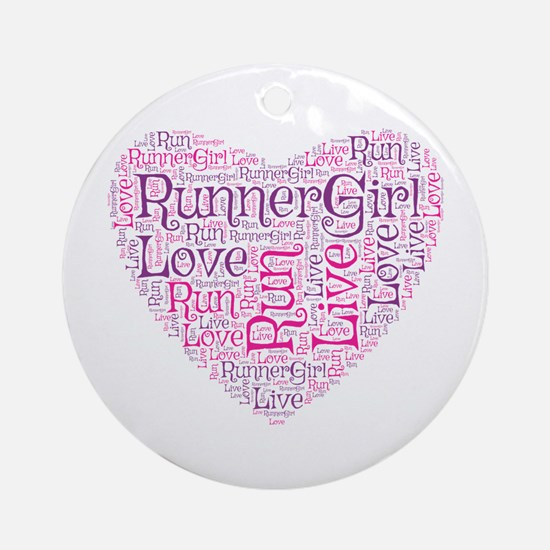 Runnergirl Heart Ornament (round)