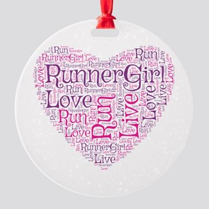 Runnergirl Heart Round Ornament