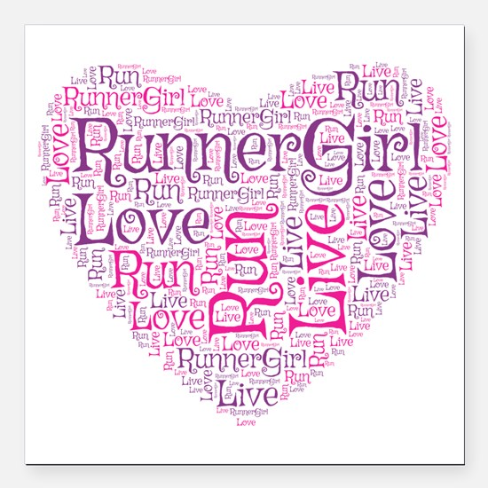 """Runnergirl Heart Square Car Magnet 3"""" X 3&quo"""