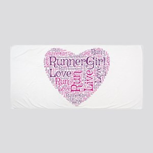 Runnergirl Heart Beach Towel