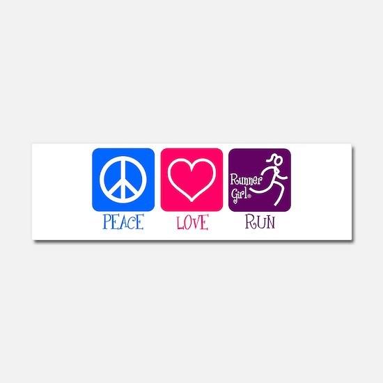 Peace-Love-Run Car Magnet 10 X 3
