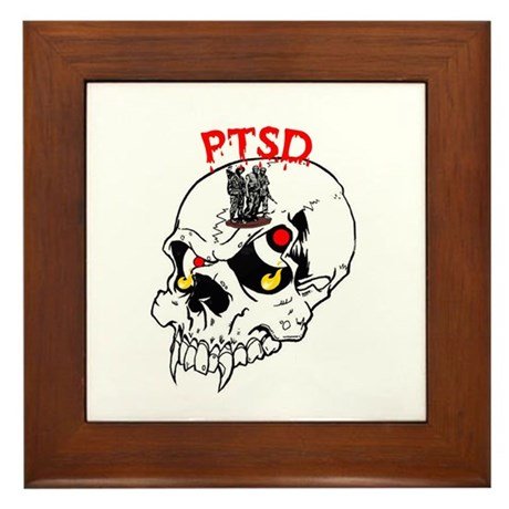 PTSD SKULL Framed Tile