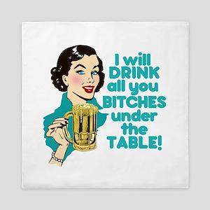 Funny Retro Beer Drinking Humor Queen Duvet