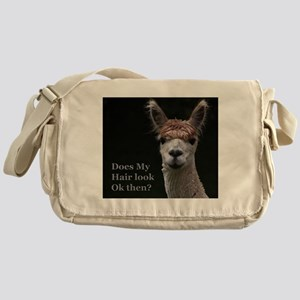 Alpaca with funny hairstyle Messenger Bag