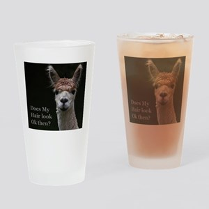 Alpaca with funny hairstyle Drinking Glass