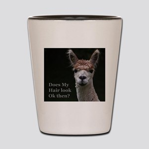 Alpaca with funny hairstyle Shot Glass
