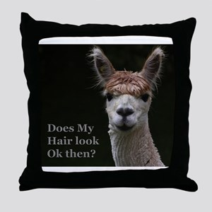 Alpaca with funny hairstyle Throw Pillow