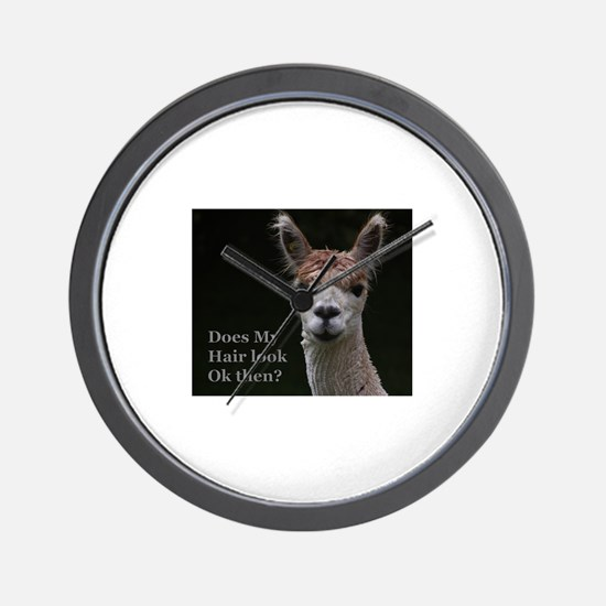 Alpaca with funny hairstyle Wall Clock