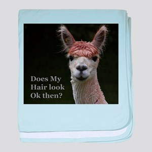 Alpaca with funny hairstyle baby blanket