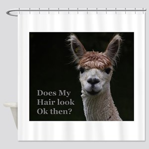 Alpaca with funny hairstyle Shower Curtain