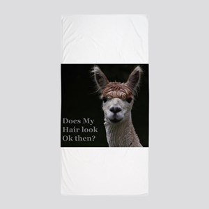 Alpaca with funny hairstyle Beach Towel