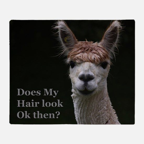 Alpaca with funny hairstyle Throw Blanket