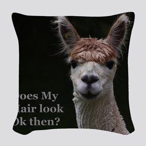 Alpaca with funny hairstyle Woven Throw Pillow