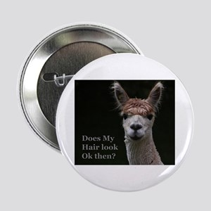 """Alpaca with funny hairstyle 2.25"""" Button"""