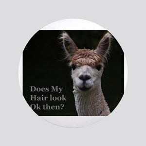 """Alpaca with funny hairstyle 3.5"""" Button"""
