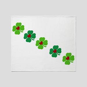 Lucky Irish Clover Throw Blanket
