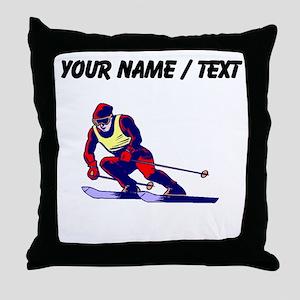 Custom Ski Racer Throw Pillow