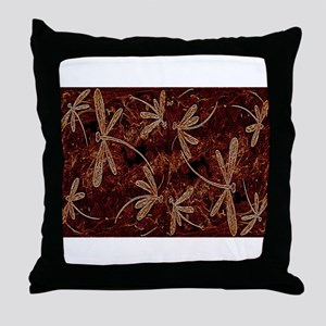 Dragonfly Flit Toffee Throw Pillow