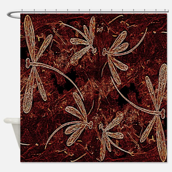Dragonfly Flit Toffee Shower Curtain