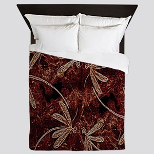 Dragonfly Flit Toffee Queen Duvet