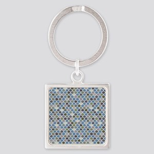 Overlapping Scallops Square Keychain