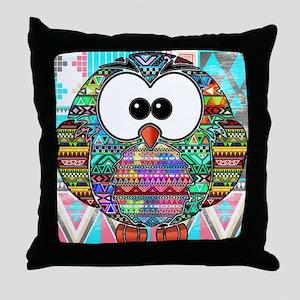 owl aztec Throw Pillow