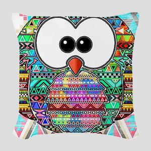 owl aztec Woven Throw Pillow