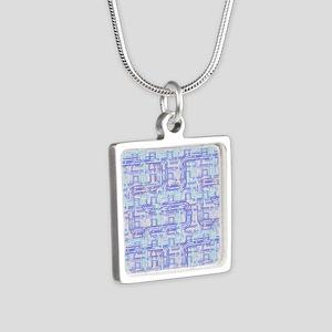 Complex Labyrinth Silver Square Necklace
