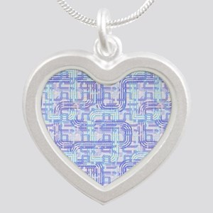 Complex Labyrinth Silver Heart Necklace