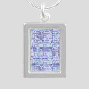 Complex Labyrinth Silver Portrait Necklace