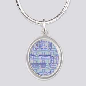 Complex Labyrinth Silver Oval Necklace