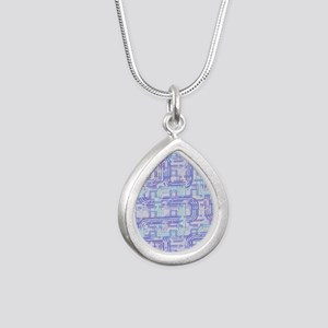 Complex Labyrinth Silver Teardrop Necklace
