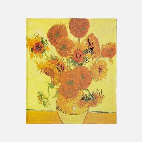 Van Gogh Sunflowers Throw Blanket