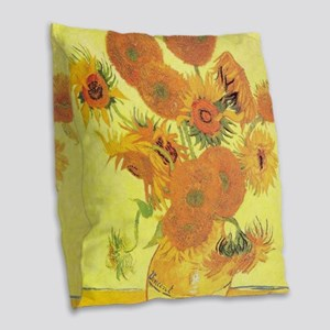 Van Gogh Sunflowers Burlap Throw Pillow