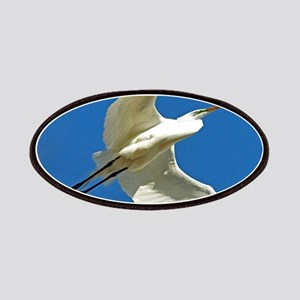 blue white egret bird Patch
