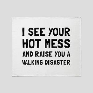 Hot Mess Walking Disaster Throw Blanket