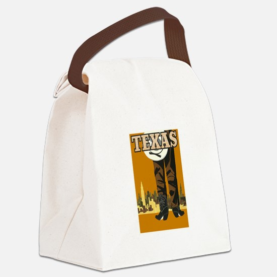 Texas Vintage Travel Poster Canvas Lunch Bag