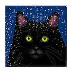 BLACK CAT SNOW Tile Coaster