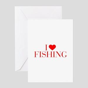 I love Fishing-Bau red 500 Greeting Cards