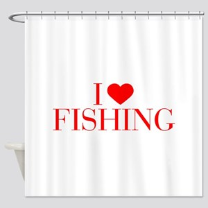 I love Fishing-Bau red 500 Shower Curtain