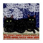 BLACK CATS SNOW Tile Coaster
