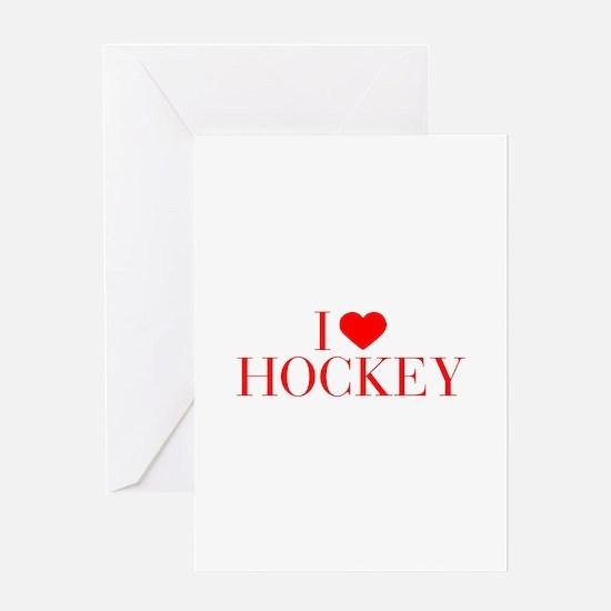 I love Hockey-Bau red 500 Greeting Cards