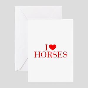 I love Horses-Bau red 500 Greeting Cards